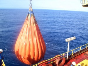 large orange water filled bag